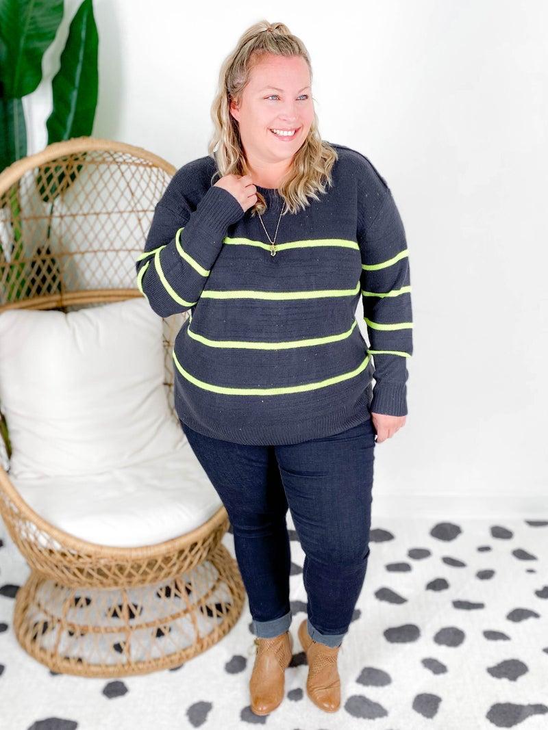 PLUS/REG Crew Neck Stripe Sweater (Multiple Colors)