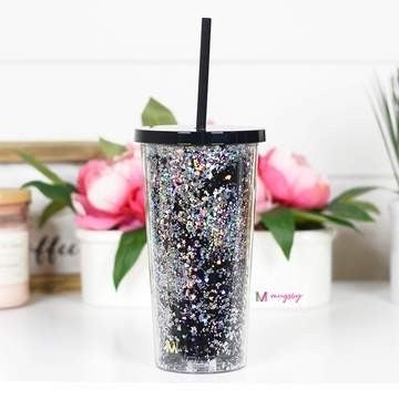 Glitter Black Tumbler with Straw
