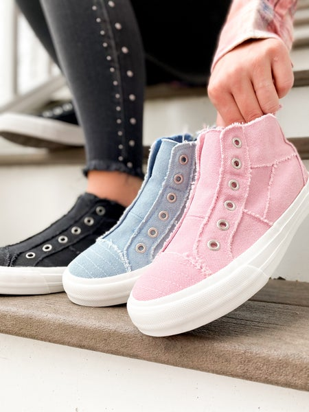 Distressed Unlaced High Top Sneakers (Multiple Colors)