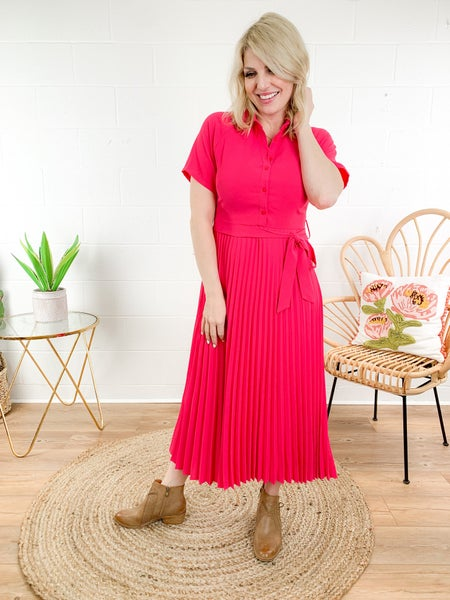Pleated Shirt Dress (Multiple Colors)
