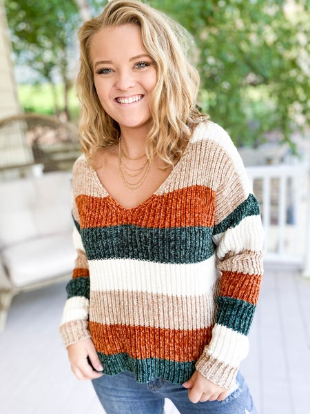 PLUS/REG Taupe & Rust Chenille Colorblock Sweater