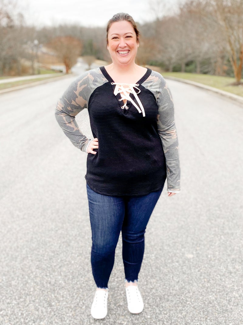 Ribbed Knit Top With Camo Sleeves & Lace Up Front