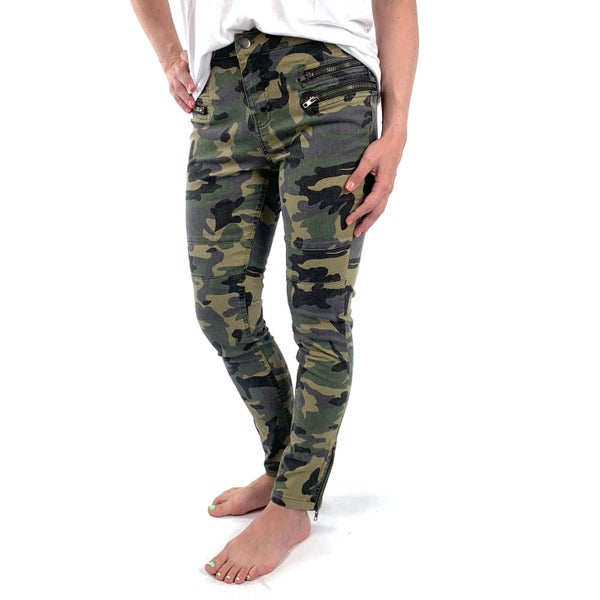 Plus/Reg Camo Moto Pants with Zipper Front and Ankles