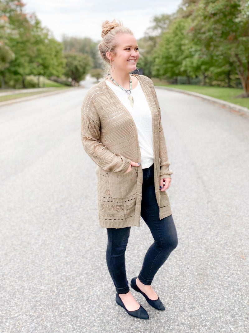 Beige Open Front Knit Cardigan With Pockets