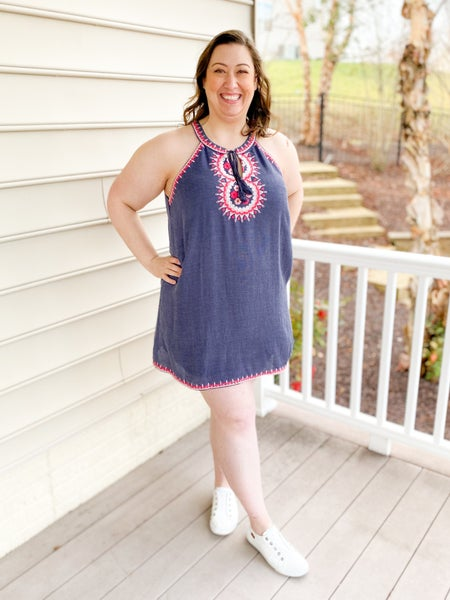 PLUS/REG Navy Sleeveless Dress With Embroidered Top