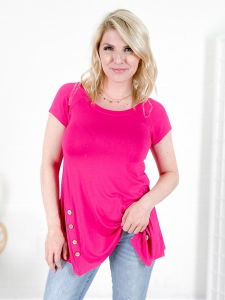 DOORBUSTER PLUS/REG Tunic Top with Button Detail (Multiple Colors)