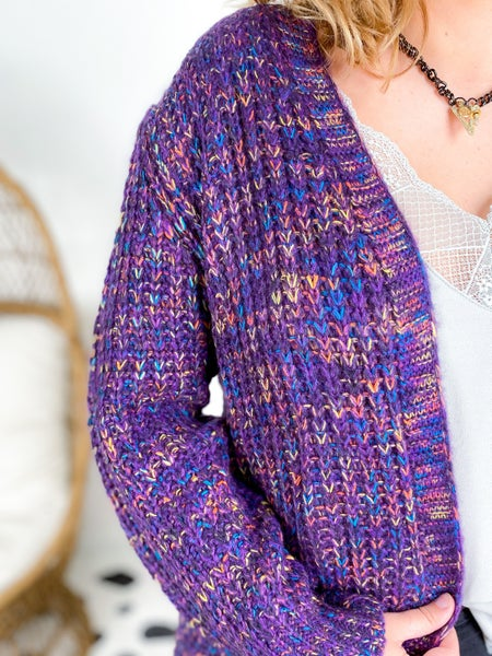 Multi Color Open Ribbed Detail Cardigan (Multiple Colors)