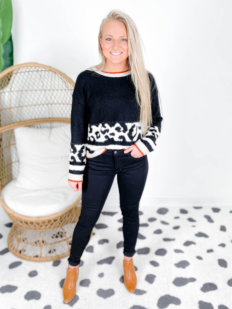 Black Sweater with Fuzzy Leopard Color Block