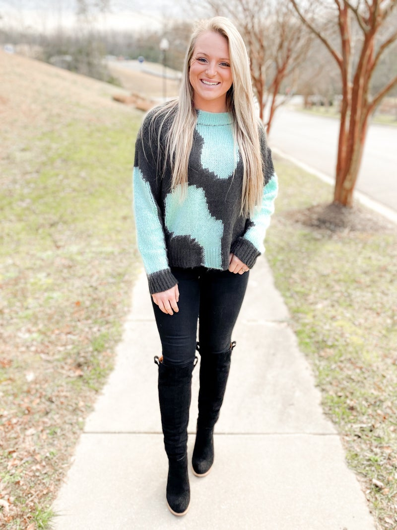 PLUS/REG Charcoal & Teal Color Block Round Neck Sweater