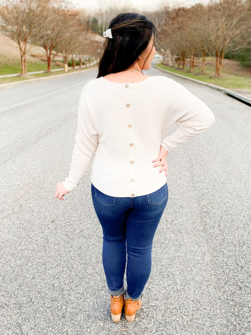 Solid Ruffled Ribbed Dolman Top (Multiple Colors)