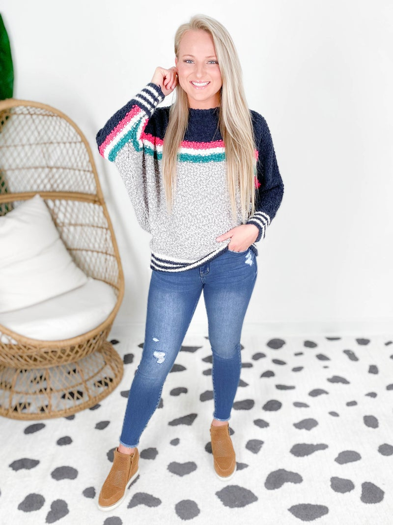 Striped Colorblock Popcorn Sweater with Dolman Sleeves