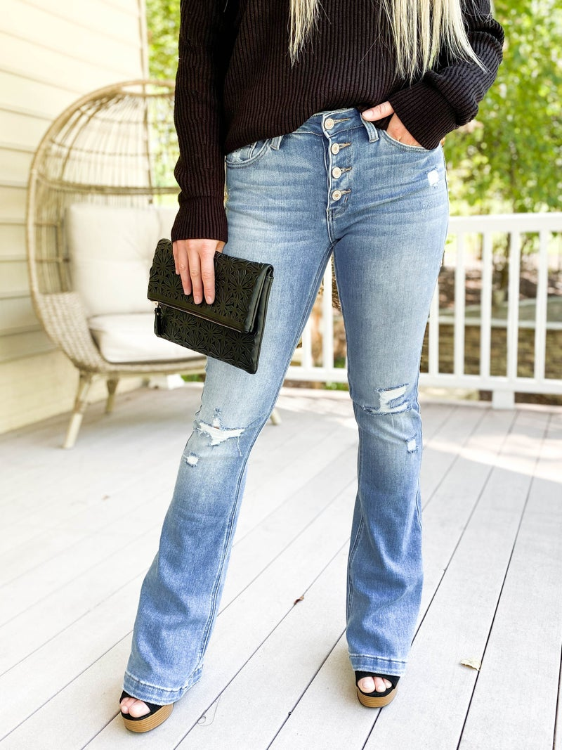 KanCan Sexy AF Medium Wash Bootcut Flare Button Fly Jeans