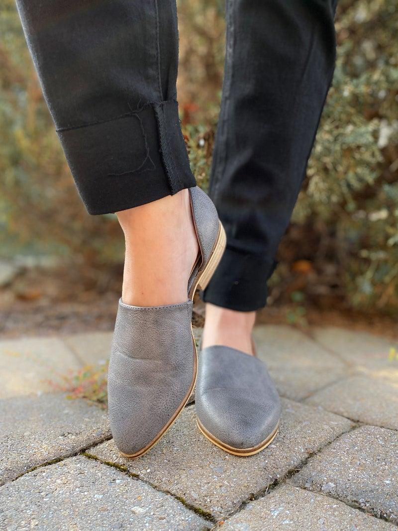 Women's Grey Flat Loafer Slip on Shoes