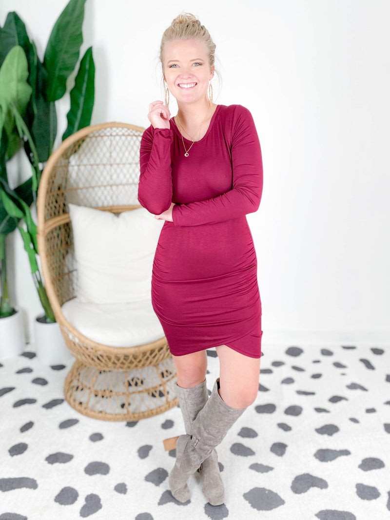 Ruched Side Long Sleeve Tunic Dress (Multiple Colors)