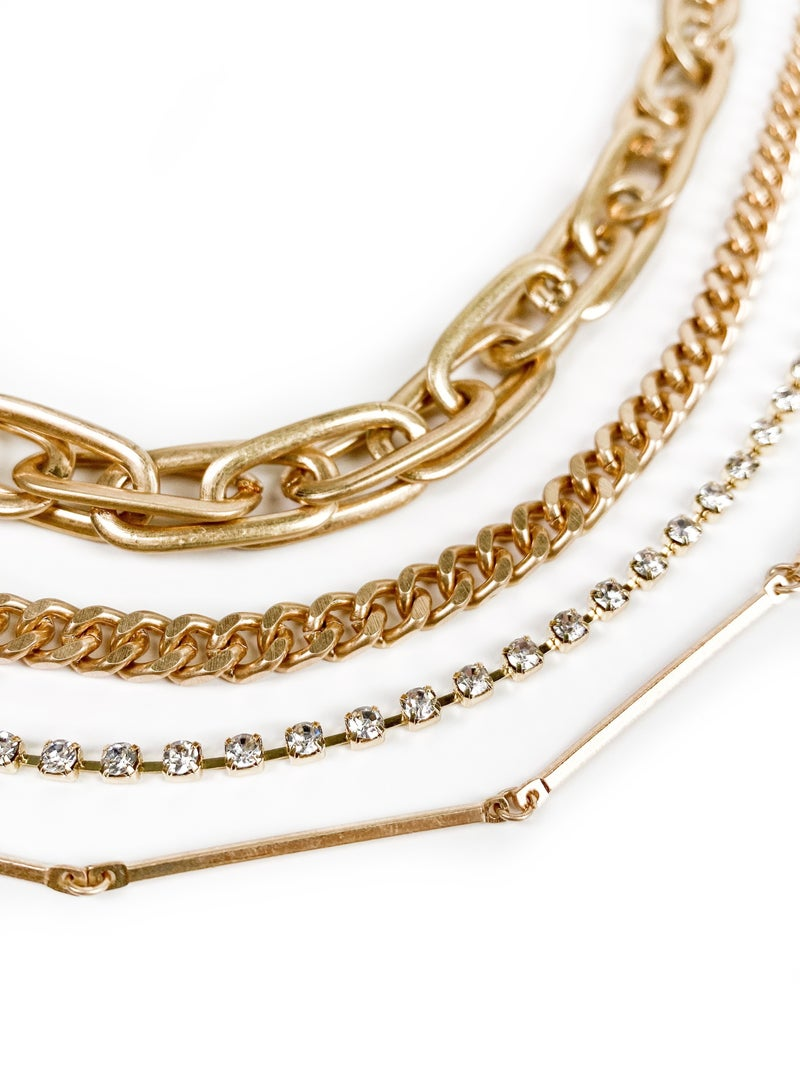 Four Layer Gold Chain Necklace with Rhinestones and Chunky Chainlink