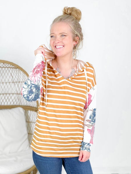 PLUS/REG Long Sleeve Stripe Knit Top With Floral Sleeve