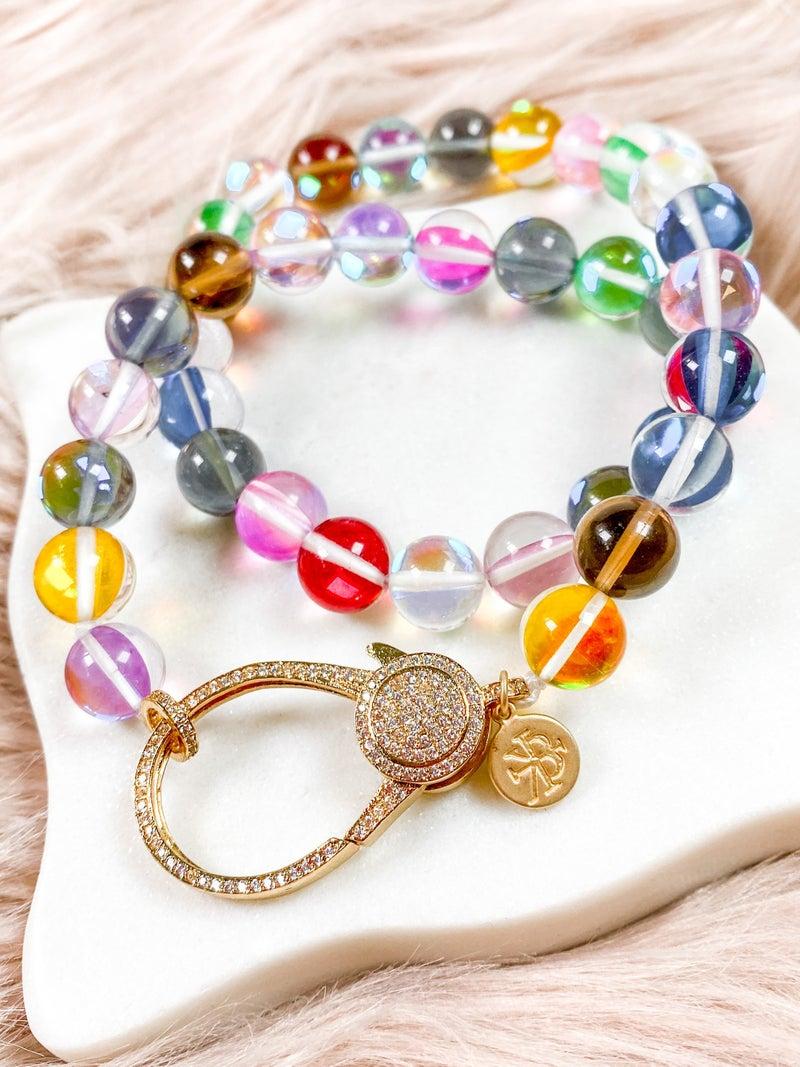 Karli Buxton 17″ Rainbow Quartz Necklace with 2″Gold Pavé Clasp