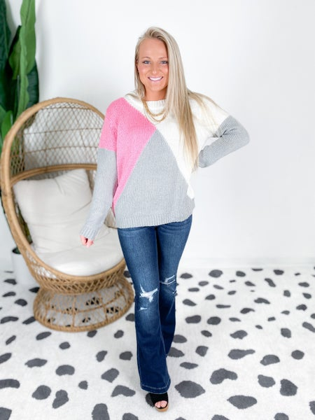 Crew Neck Color Block Sweater (Multiple Colors)
