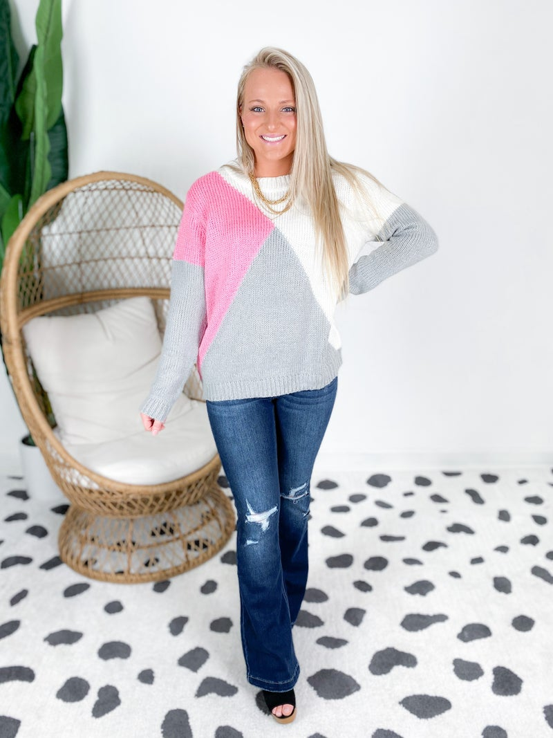 Crew Neck Color Block Sweater (Multiple Colors)