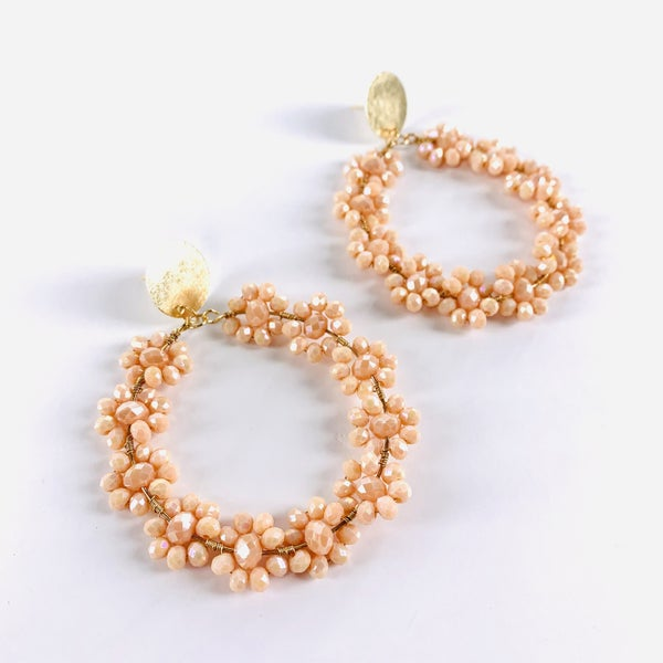 Blush, Lilac, Orange or White Flower Accent Hoop Earrings