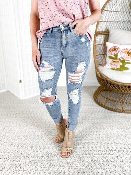 PLUS/REG Judy Blue Mama Knows Best Skinny Jeans