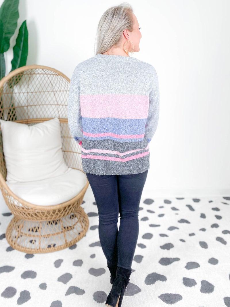 Fuchsia & Charcoal Color Block Stripe Sweater