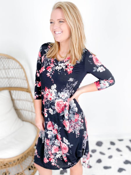 PLUS/REG Honeyme Black & Red Floral Dress with Side Tie