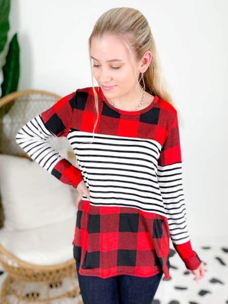 PLUS/REG Buffalo Plaid Top With Stripe Contrast Detail