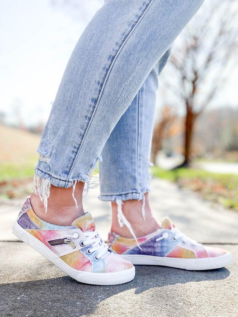 Desert Grey TIE DYE Blowfish Slip On Sneakers With Zipper Detail