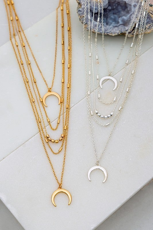 Layered Crescent & Metal Bead  Necklace (Multiple Colors)