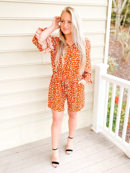 Rust Button Down Romper With Fringe Tie Detail