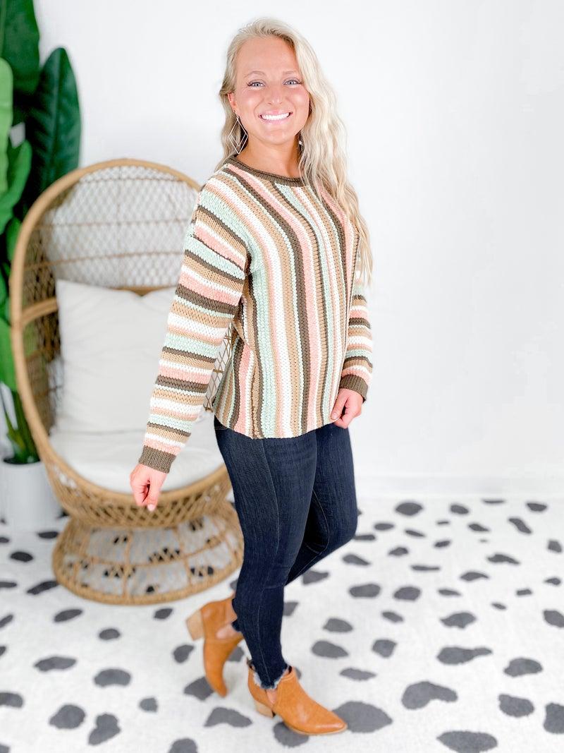 Multi Color Round Neck Knit Sweater