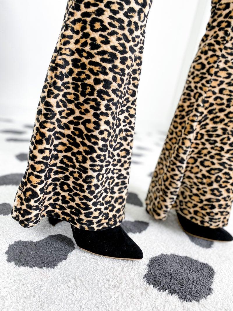 Soft Leopard Print High Waist Flared Leggings