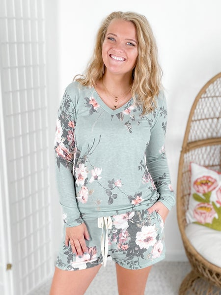 Sage Vintage Floral Long Sleeve Lounge Set