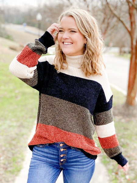 Olive & Rust Turtle Neck Color Block Sweater