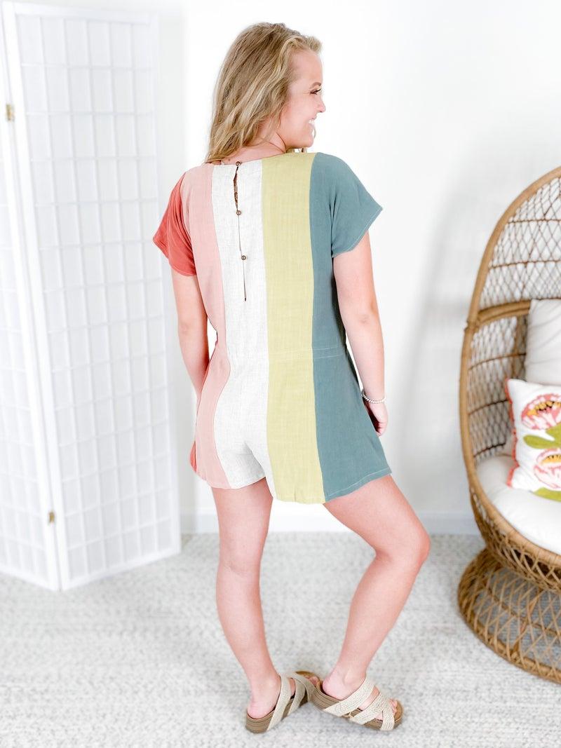 PLUS/REG Vertical Colorblock Stripe Romper
