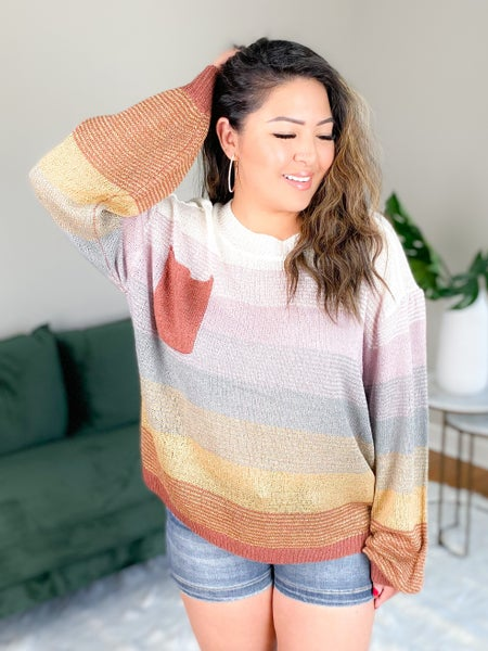 Multi Color Light Weight Knit Sweater With Pocket