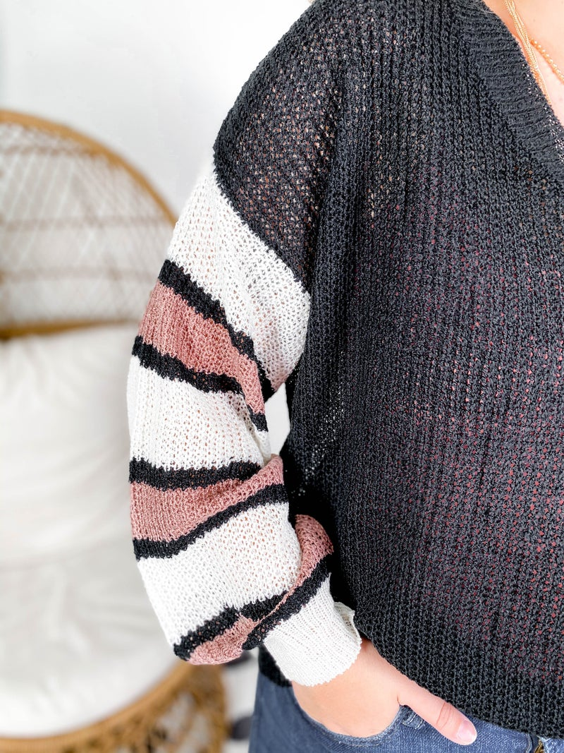 Lightweight Sweater Top With Stripe Sleeve Detail