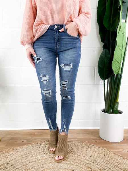 KanCan Patched Pin Stripe Skinny Jeans