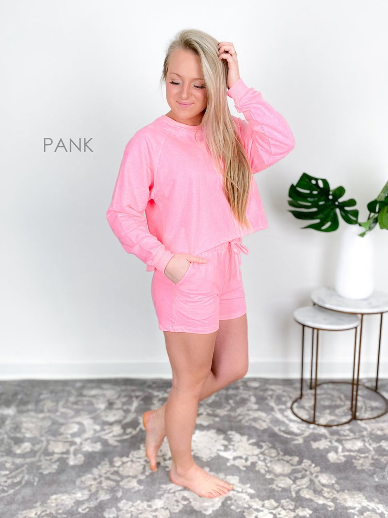 Door Buster! Zenana French Terry Long Sleeve Top & Shorts Lounge Set (Multiple Colors)