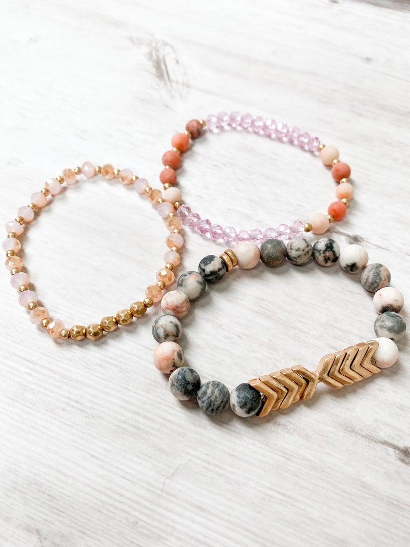 Stone and Metal Bead Chevron Bracelet Set (Multiple Colors)