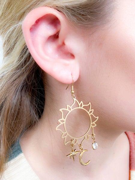 Gold Sun, Moon & Stars Filigree Earrings