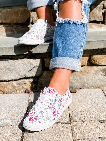 Magenta Flower Low Top Slip On Sneakers