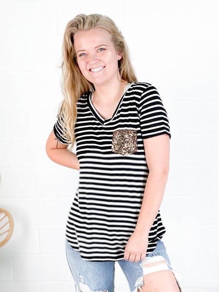 PLUS/REG Black Striped Top with Gold Sequin Pocket