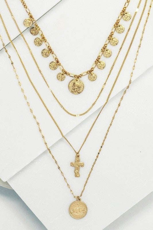 Gold Coin Drops & Cross Layered Necklace