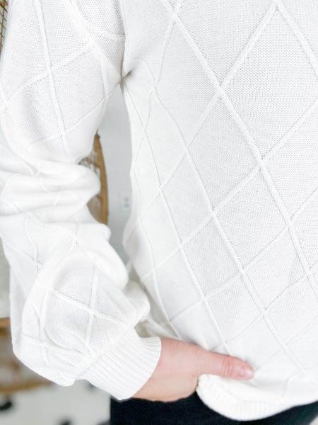 PLUS/REG Ivory Diamond Knit Balloon Sleeve Top