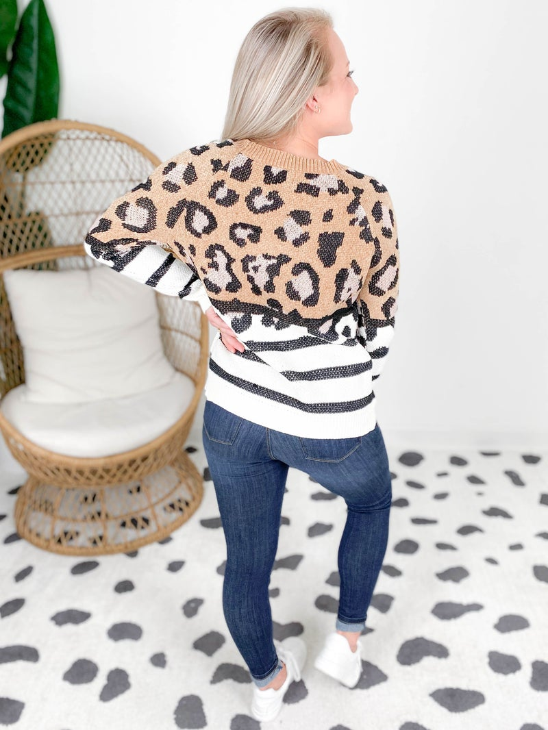 Chenille Leopard & Stripe Sweater