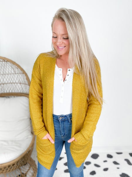 Mustard Long Knit Cardigan With Pockets