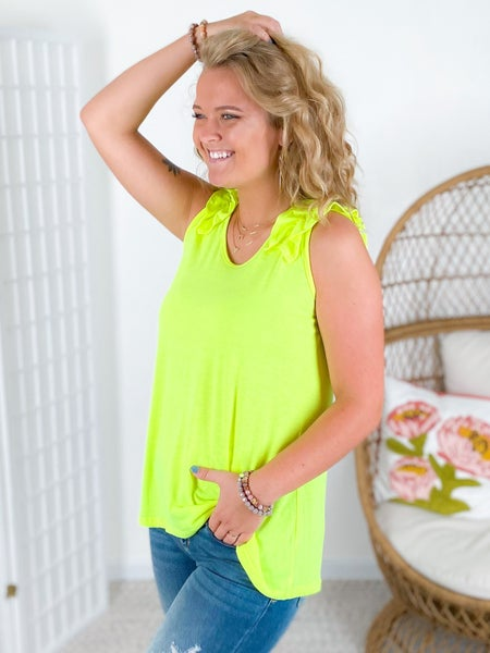 DOORBUSTER! Bright Sleeveless Top with Ruffle Sleeves (Multiple Colors)