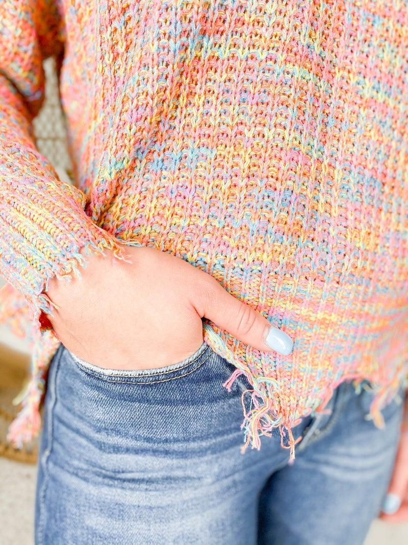 Rainbow Knit Sweater with Distressed Hem